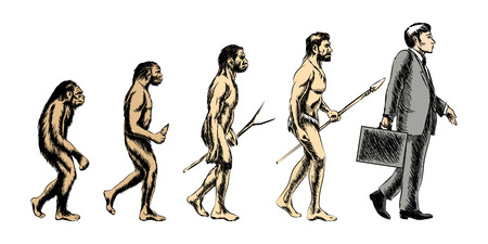 apes: Businessman evolution, people silhouette, grow monkey evolve, vector illustration