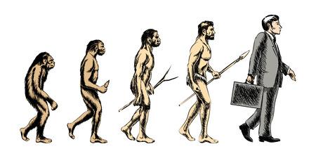 La evolución del hombre de negocios, la gente silueta, crecer evolucionar mono, ilustración vectorial
