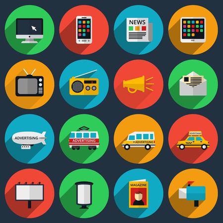 Medien und Informationskanäle Symbole mit langen Schatten. Web-Marketing, E-Mail und Fernsehen, Radio und Internet, Medieninhalte, Zeitungen und Zeitschriften. Vektor-Illustration
