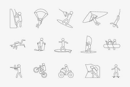 Extreme sports or outdoor activity in line style. Climb and skydiving, motorcycle and paintball, windsurfing and skate. Vector illustration Illustration