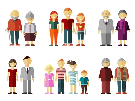 Vector set of flat family. Daddy and sister, grandparents together, grandmother and grandfather illustration