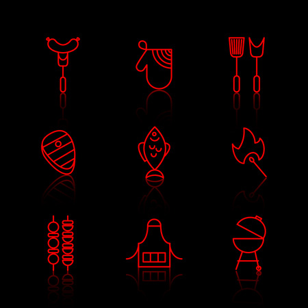 barbecue stove: Vector set of barbecue and grill thin line icons. Steak and picnic, sausage and fire, fork and beef, fish and pork illustration Illustration