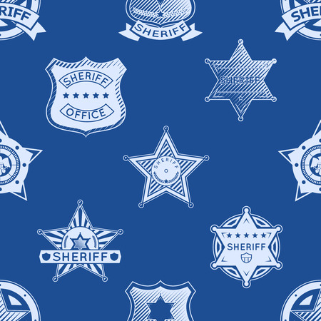 sheriff badge: Sheriff badge seamless pattern. Western police american, law and circle. Vector illustration Illustration