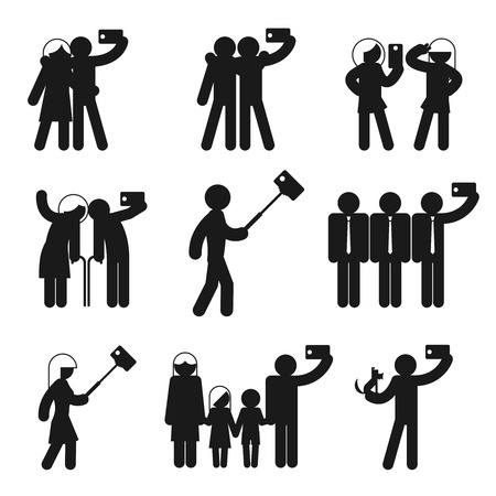 Set of vector selfie icons. Camera phone, people and mobile photography, family man and woman and child illustration Çizim