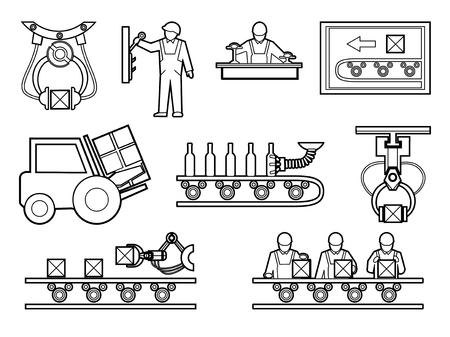 工業および製造プロセス アイコンをラインアートのスタイルに設定します。生産、工場または工場、ベクトル図のマシンのための機器