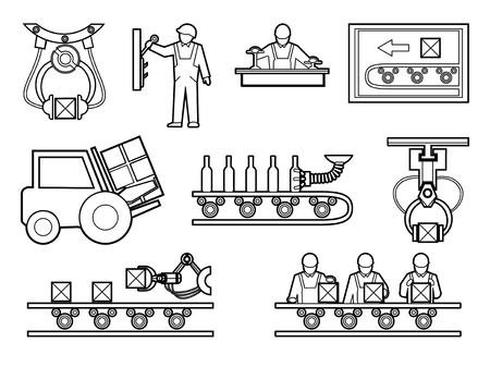 Industrial and manufacturing process icons set in line art style. Equipment for production, machine for plant or factory, vector illustration