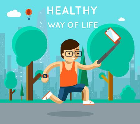 ejercicio: Estilo de vida saludable. Deporte monopod selfie en el parque. El ejercicio y la ejecuci�n, atleta activo, ilustraci�n vectorial Vectores