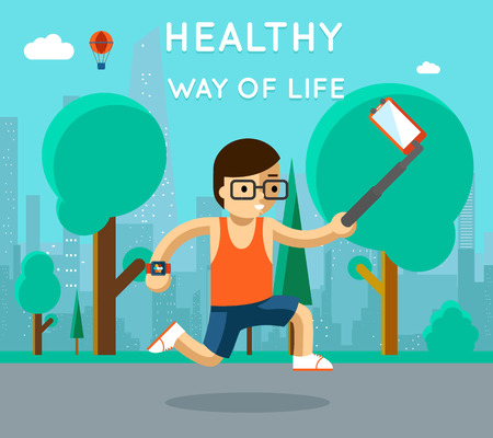 run way: Healthy way of life. Sport monopod selfie in park. Exercise and run, active athlete, vector illustration