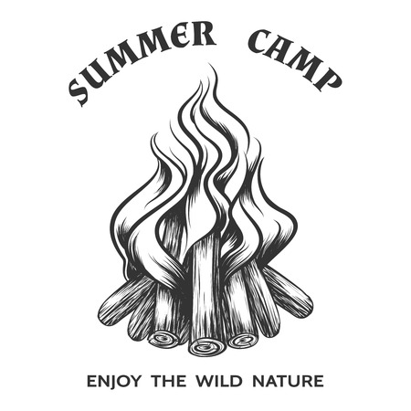 Vector affiche met de hand getekend kampvuur. Vlam en branden, brandhout en energie, open haard en vreugdevuur, vector illustratie