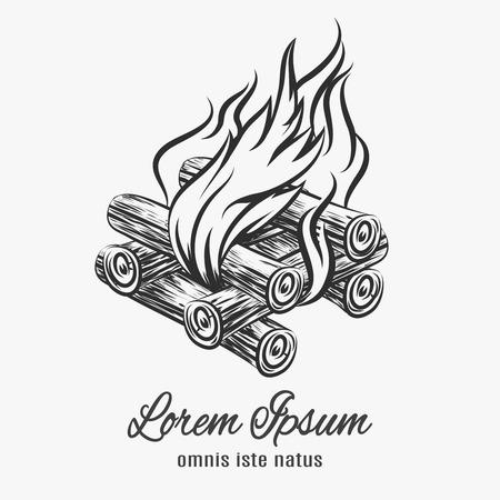 Camp bonfire emblem. Bonfire sketch, symbol outdoor, flaming form Vector illustration