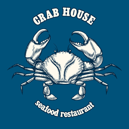 shellfish: Seafood restaurant logo template with crab. Shellfish icon, template graphic nutrition and culinary, vector illustration