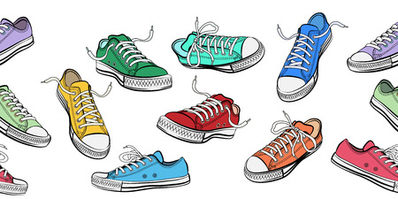 Sneakers shoes horizontal seamless pattern. Sport and street fashion footwear, vector illustration Illustration