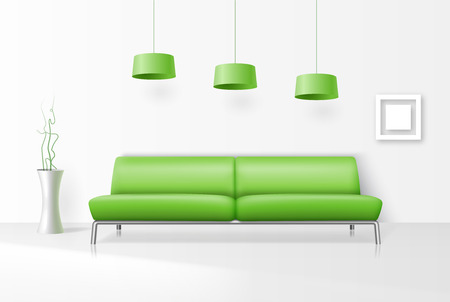 green couch: White interior with realistic sofa. sofa, Room realistic, furniture design, modern living, indoor. Vector illustration Illustration