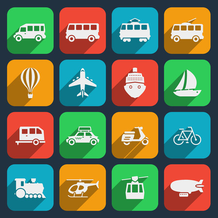 運輸: 交通運輸圖標集。出租車和火車,摩托車和輕便摩托車,船和飛機,直升機和自行車。矢量插圖