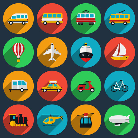 運輸: 運輸平圖標集。小巴和船,輕便摩托車,摩托車,火車,出租車,電車和飛機,遊艇和船舶。矢量插圖
