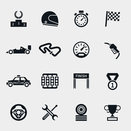 one: Car race icons set. Stopwatch and speedometer, tire and pedestal, helmet and cup, winning finish, flag and speed competition, vector illustration