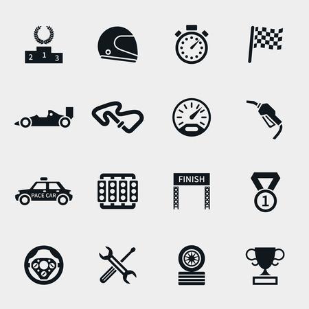 velocímetro: Iconos de carreras de coches fijados. Cronómetro y velocímetro, los neumáticos y el pedestal, casco y la copa, acabado ganando, la bandera y la velocidad de la competencia, ilustración vectorial