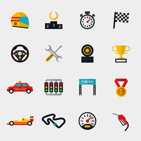 Set di auto da corsa, tracciato e con la bandiera da corsa moderne icone piane. Cronometro e tachimetro, casco e coppa, bandiera e speedway. Illustrazione vettoriale