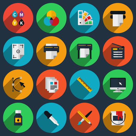 Flat color printing icons set. Bezier curve, pipette and monitor, production and spectrum, gamma and tool. Vector illustration