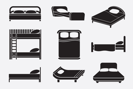 lying in bed: Bed icons set. Bedroom furniture, mattress and relax service, vector illustration