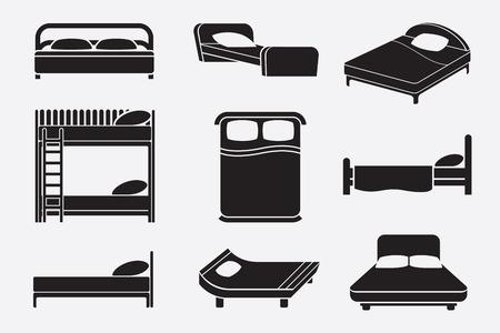 cama: Iconos Juego de cama. Muebles de dormitorios, colchón y servicio de relajarse, ilustración vectorial Vectores