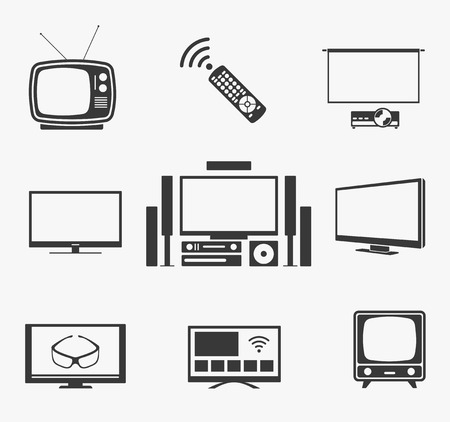 tv screen: Retro TV and flat screen TV, home theater and smart TV icons. Television and display, technology symbol and vintage antenna. Vector illustration