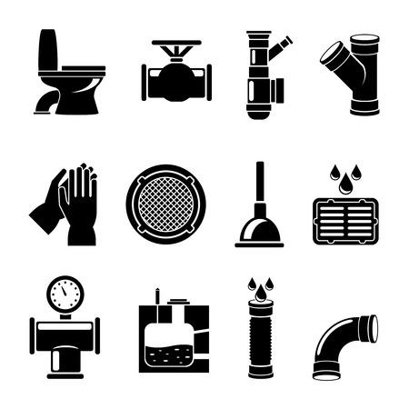 Riolering pictogrammen. Loodgieter en kraan, pijp en wastafel, llustration. Vector illustratie