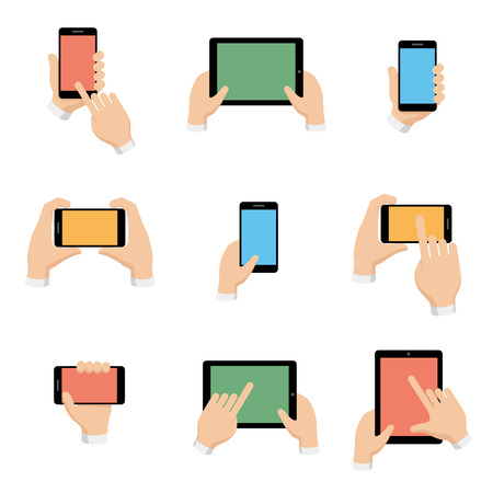 communication devices: Vector icons set of smartphone and tablet in hands in flat design style. Internet and communication, phone and smartphone, digital screen illustration