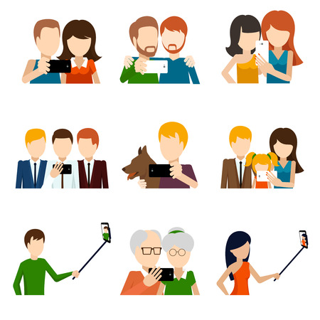 Selfie icons set in flat design style. Camera and phone, people and friend,  memory and photograph pose. Vector illustration