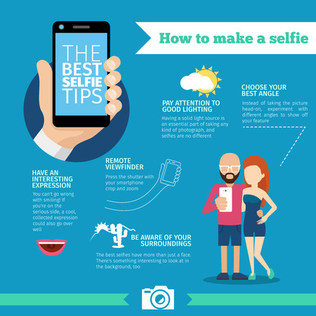 The best selfie tips. How to make a selfie infographic. Phone and photo, portrait instruction, device and equipment, creative smart mobile picture. Vector illustration Vettoriali