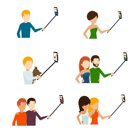 Monopod selfie flat icons set. Telephone and photograph, camera and phone. Vector illustration Illustration