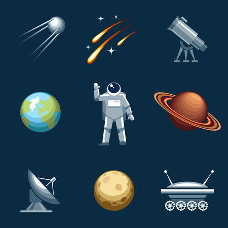 spacesuit: Space and astronomy set. Astronaut and spacesuit, cosmonaut and comet, moonwalker and telescope. Vector illustration