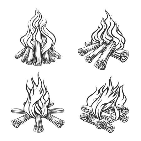 llamas de fuego: Establece Mano vector dibujado hoguera. Llama y quemar, energ�a le�a, ilustraci�n boceto chimenea Vectores