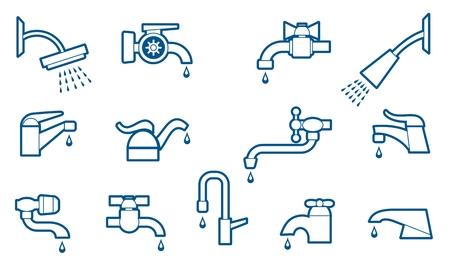 grifos: El agua del grifo o iconos de la línea de grifos establecen. Válvula y tuberías, cañerías y equipos. Ilustración vectorial