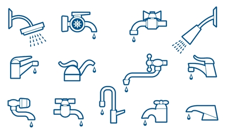 on tap: Water tap or faucet line icons set. Valve and pipe, plumbing and equipment. Vector illustration