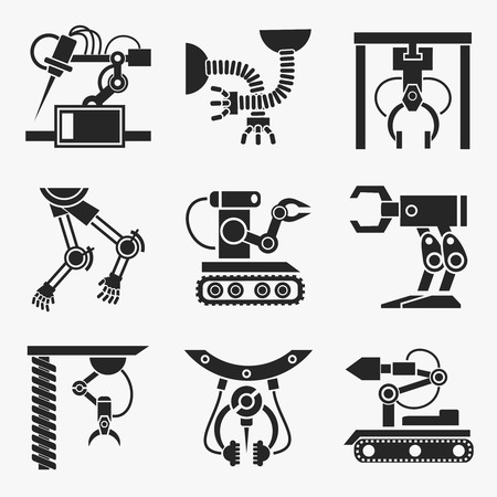 silhouette industrial factory: Industrial robot set. Equipment robotic arm, production mechanic automation. Vector illustration Illustration