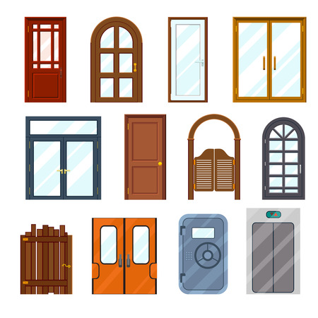 front gate: Vector colourful front doors set. Front architecture interior, wooden and colorful, doorway and exit illustration