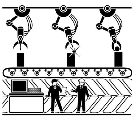 idraulico: Robotic linea di trasporto di produzione. Macchina meccanica, produzione e impianti, processo di lavoro idraulico automatico. Illustrazione vettoriale Vettoriali