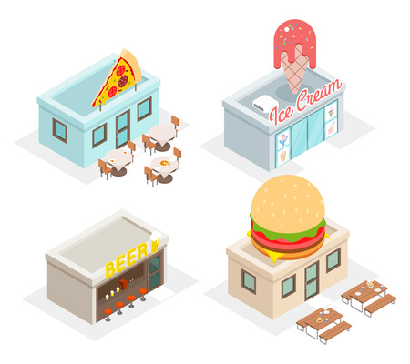 fast food restaurant: Restaurant, cafes and fast food shop icons. Beer and fastfood, pizzeria and ice cream, vector illustration