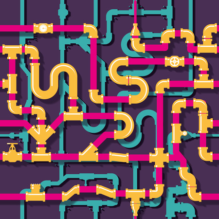 conduit: Water piping seamless pattern. Pipeline and tube, industrial construction, vector illustration