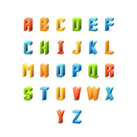 alphabetical order: Vector 3d retro font. Alphabet letter, typeset latin color, vector illustration Illustration
