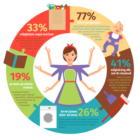 housework: Housewife infographic. Mother and housework, female and cooking, vector illustration Illustration