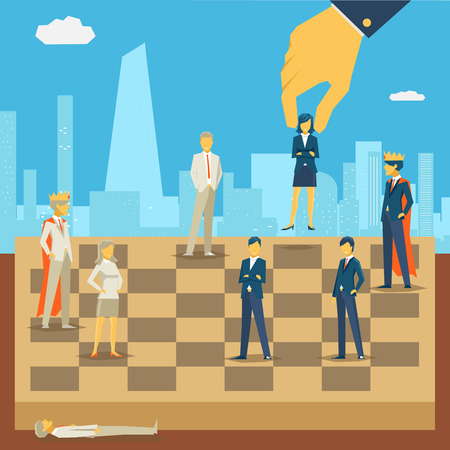 company board: Corporate business chess. Strategy and people, success competition game, person businessman, vector illustration