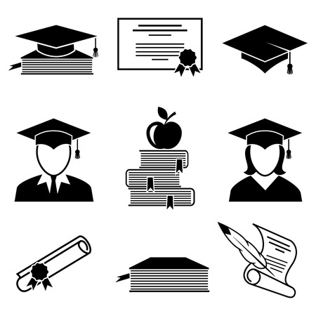 gorros de graduacion: Graduación y educación iconos conjunto. Universidad y el estudiante, manzana y persona, de grado y diploma, libro y certificado, ilustración vectorial Vectores