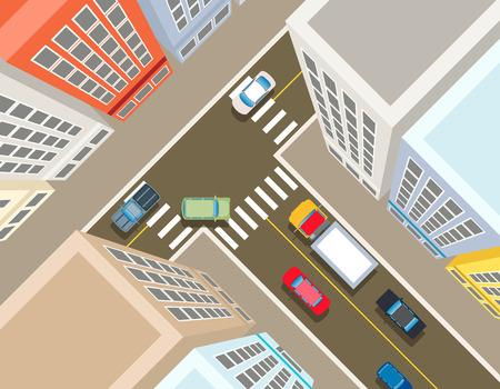 街の上部の岐路を表示します。輸送車、都市とアスファルトや建物のトラフィックベクトル図
