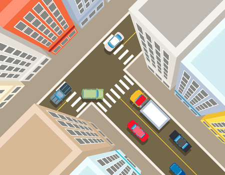 view: Crossroads in the city top view. Transport car, urban and asphalt, traffic and building. Vector illustration