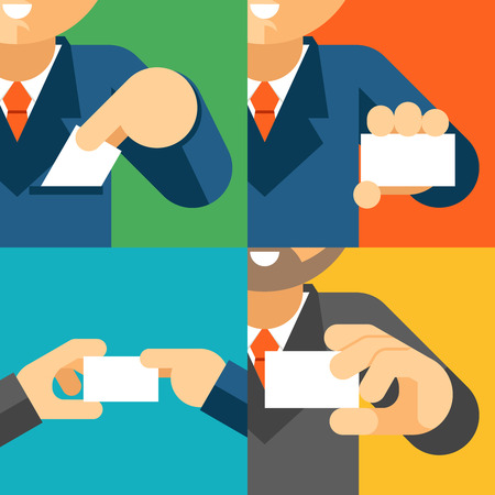Businessman holding visiting card template in his hand. Business professional, paper message, vector illustration