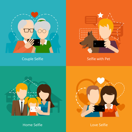 an old friend: Vector selfie design concepts. Creative people, mobile camera phone. Vector illustration