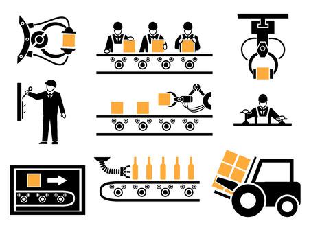 Proceso de fabricación o iconos de producción establecido. Transportadora Industrial, caja de embalaje, máquina mecánica, ilustración vectorial