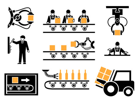 Procesu produkcyjnego lub ikony produkcyjne ustawić. Przenośniki przemysłowe, pole pakowania, maszyny mechaniczne, ilustracji wektorowych